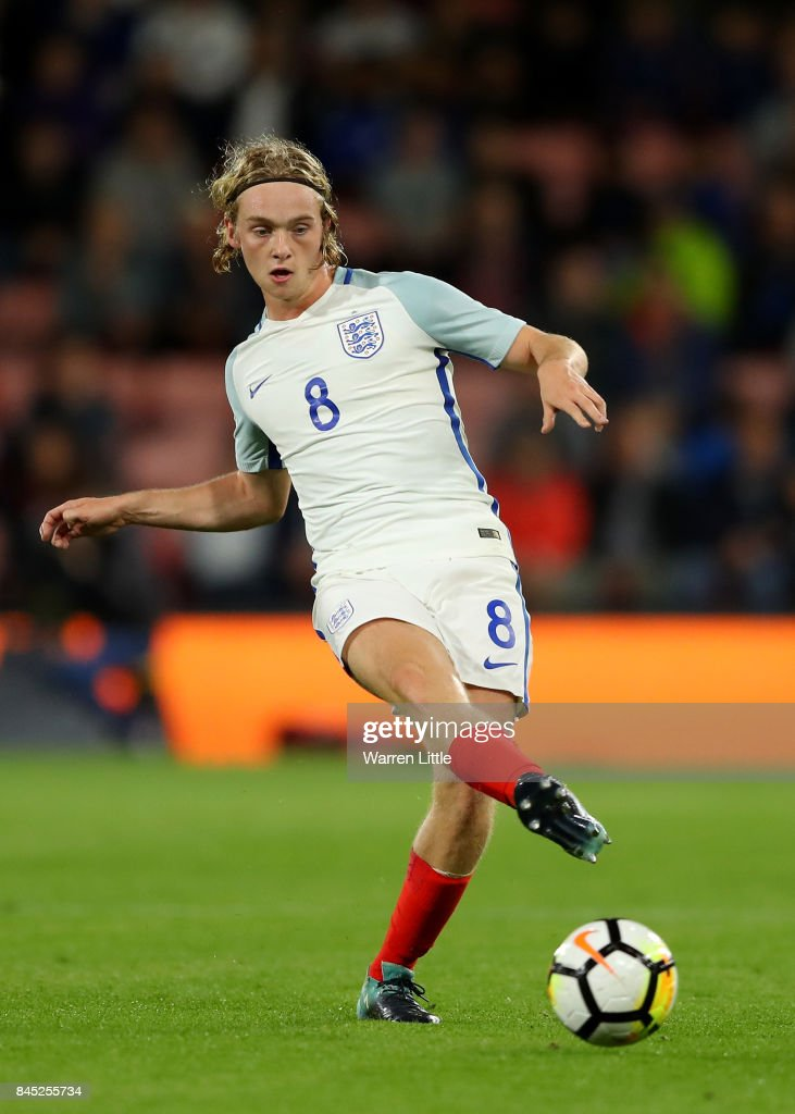 Tom Davies of England in action during the UEFA Under 21 Championship Qualifiers between England and Latvia at the Vitality Stadium on September 5, 2017 in Bournemouth, England.