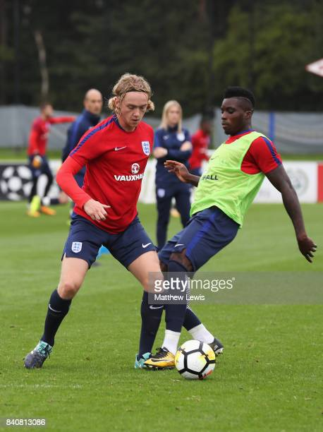 Tom Davies of England is closed down during an England Under 21 training session at St George's Park on August 30 2017 in BurtonuponTrent England