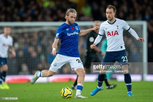 Tom Davies of Everton and Christian Eriksen of Tottenham Hotspur in action during the Premier League match between Everton FC and Tottenham Hotspur...