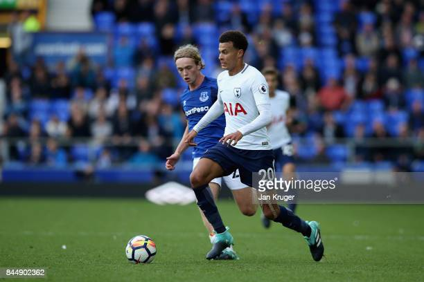 Tom Davies of Everton and Dele Alli of Tottenham Hotspur battle for possession during the Premier League match between Everton and Tottenham Hotspur...
