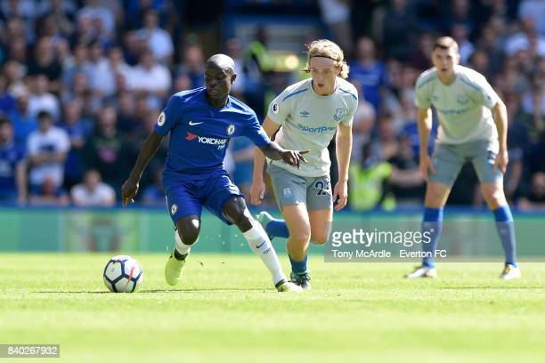 Tom Davies of Everton and Ngolo Kante of Chelsea during the Premier League match between Chelsea and Everton at Stamford Bridge on August 27 2017 in...
