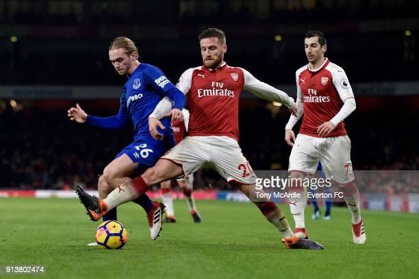Tom Davies of Everton ands Shkodran Mustafi during the Premier League match between Arsenal v Everton at Emirates Stadium on February 3 2018 in...