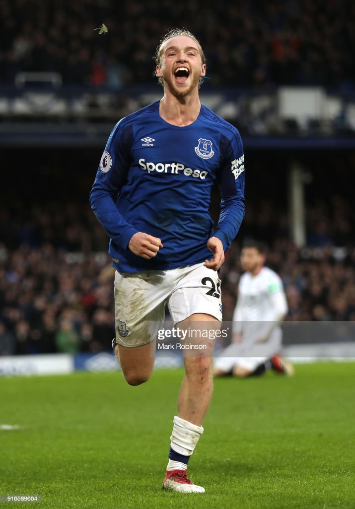 Tom Davies of Everton celebrates after scoring his sides third goal during the Premier League match between Everton and Crystal Palace at Goodison Park on February 10, 2018 in Liverpool, England.