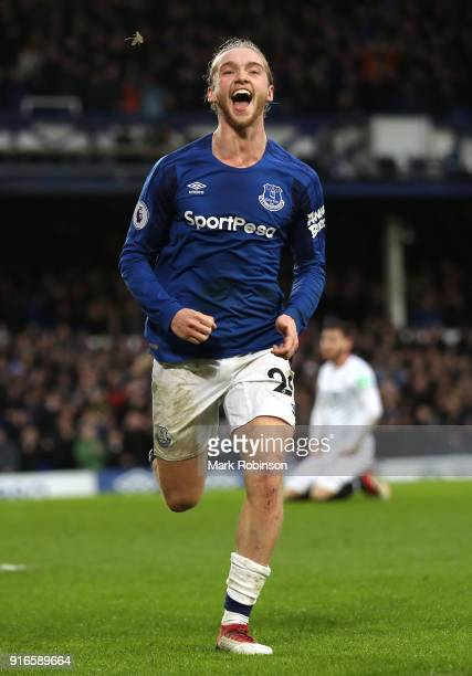Tom Davies of Everton celebrates after scoring his sides third goal during the Premier League match between Everton and Crystal Palace at Goodison...