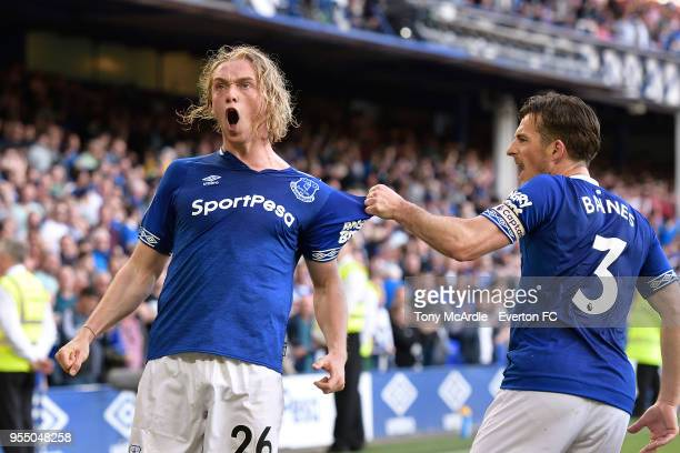 Tom Davies of Everton celebrates his goal during the Premier League match between Everton and Southampton at Goodison Park on May 5 2018 in Liverpool...