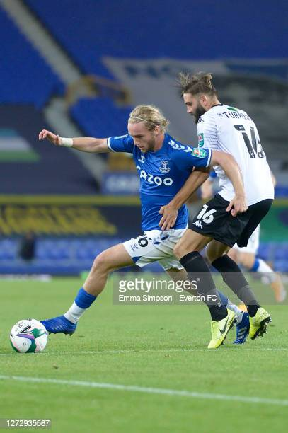 Tom Davies of Everton during the Carabao Cup Second Round match between Everton and Salford City at Goodison Park on September 16, 2020 in Liverpool,...