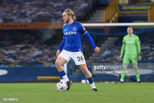 Tom Davies of Everton during the FA Cup Fifth Round match between Everton and Tottenham Hotspur at Goodison Park on February 10 2021 in Liverpool,...