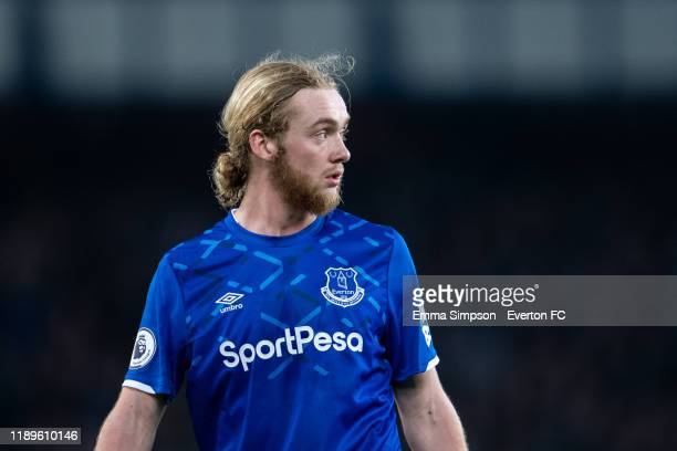 Tom Davies of Everton during the Premier League match between Everton FC and Norwich City at Goodison Park on November 23, 2019 in Liverpool, United...