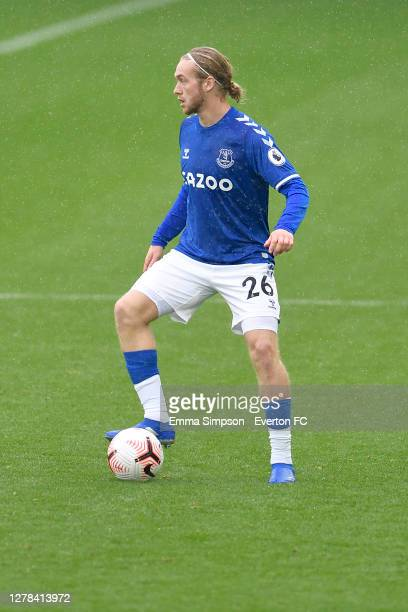 Tom Davies of Everton during the Premier League match between Everton and Brighton & Hove Albion at Goodison Park on October 3 2020 in Liverpool,...