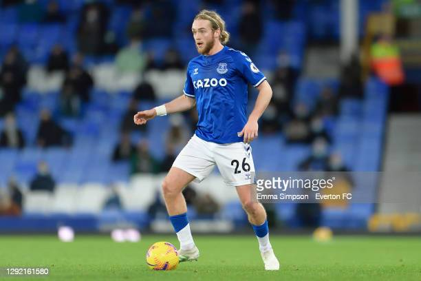 Tom Davies of Everton during the Premier League match between Everton and Arsenal at Goodison Park on December 19 2020 in Liverpool, England.