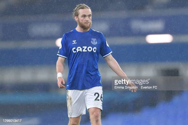 Tom Davies of Everton during the Premier League match between Everton and Leicester City at Goodison Park on January 27 2021 in Liverpool, England.