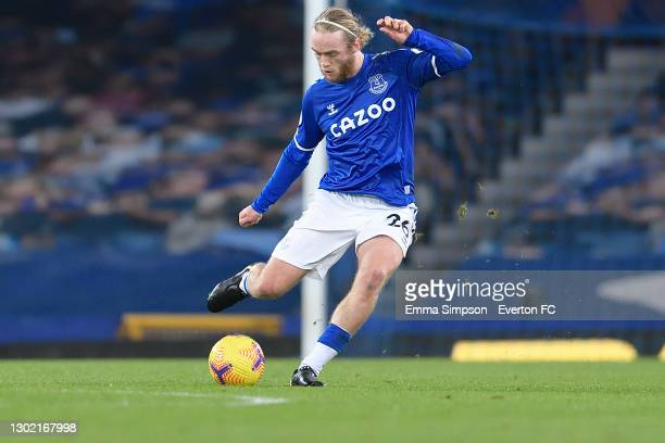 Tom Davies of Everton during the Premier League match between Everton and Fulham at Goodison Park on February 14, 2021 in Liverpool, England.