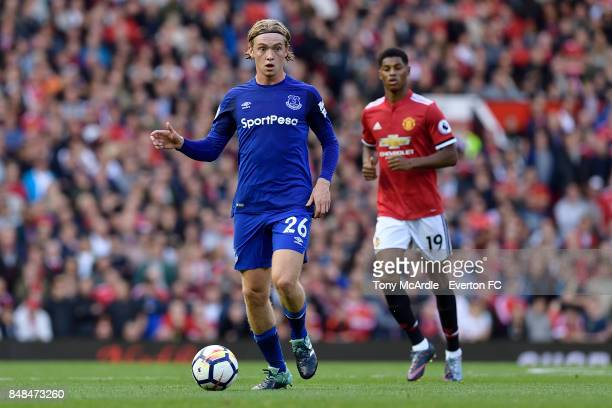 Tom Davies of Everton during the Premier League match between Manchester United and Everton at Old Trafford on September 17 2017 in Manchester England