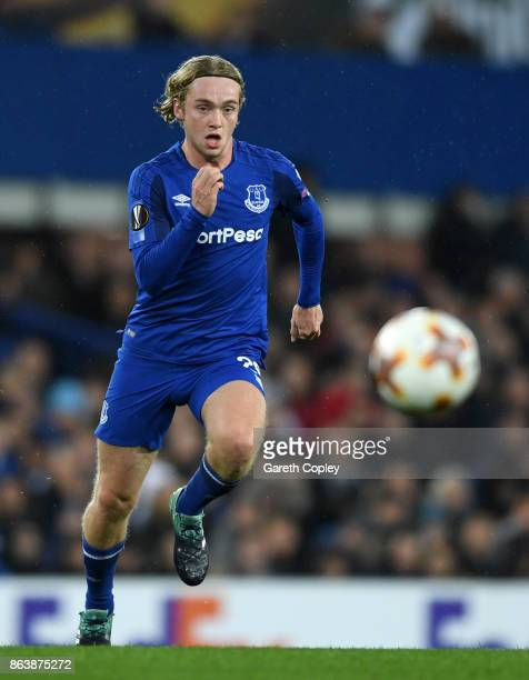Tom Davies of Everton during the UEFA Europa League group E match between Everton FC and Olympique Lyon at Goodison Park on October 19 2017 in...