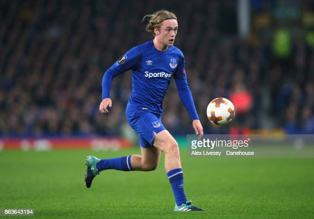 Tom Davies of Everton FC during the UEFA Europa League group E match between Everton FC and Olympique Lyon at Goodison Park on October 19 2017 in...