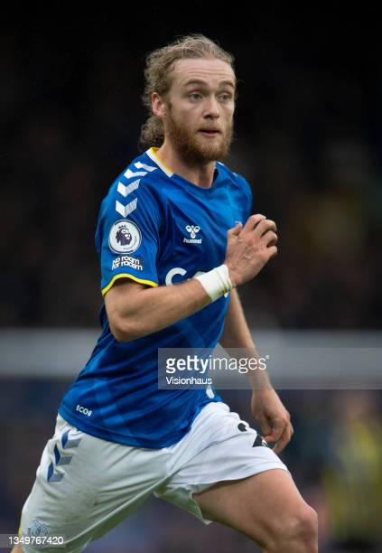 Tom Davies of Everton in action during the Premier League match between Everton and Watford at Goodison Park on October 23, 2021 in Liverpool,...