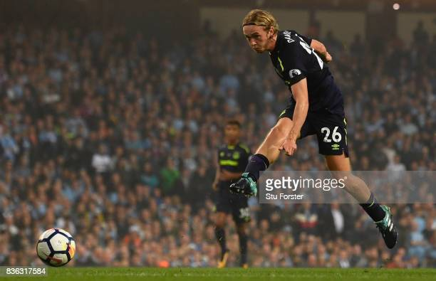 Tom Davies of Everton in action during the Premier League match between Manchester City and Everton at Etihad Stadium on August 21 2017 in Manchester...