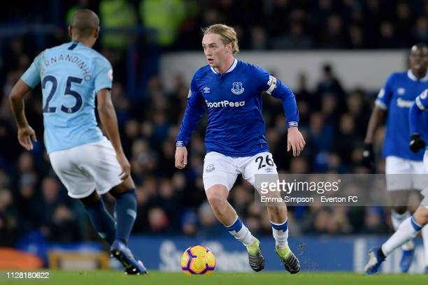 Tom Davies of Everton on the all during the Premier League match between Everton and Manchester Cit at Goodison Park on February 6 2019 in Liverpool...