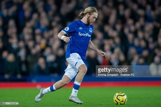 Tom Davies of Everton on the ball during the Premier League match between Everton FC and Norwich City at Goodison Park on November 23, 2019 in...