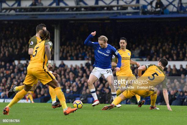 Tom Davies of Everton on the ball during the Premier League match between Everton and Brighton and Hove Albion at Goodison Park on March 10 2018 in...