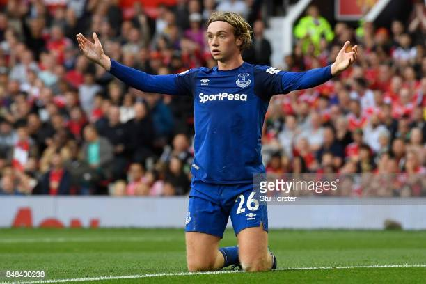 Tom Davies of Everton reacts during the Premier League match between Manchester United and Everton at Old Trafford on September 17 2017 in Manchester...