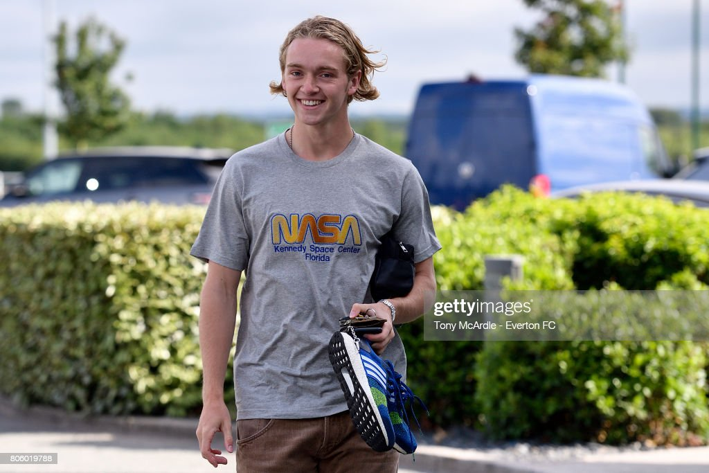 Tom Davies of Everton returns to training at USM Finch Farm on July 3, 2017 in Halewood, England.