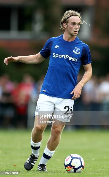 Tom Davies of Everton runs with the ball during a preseason friendly match between FC Twente and Everton FC at Sportpark de Stockakker on July 19...