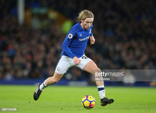 Tom Davies of Everton runs with the ball during the Premier League match between Everton and West Ham United at Goodison Park on November 29 2017 in...