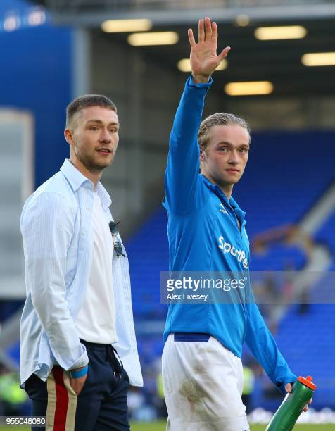 Tom Davies of Everton shows appreciation to the fans during the lap of honour after the Premier League match between Everton and Southampton at...