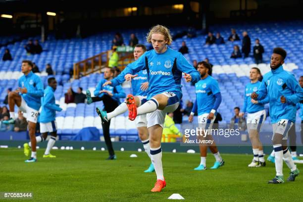Tom Davies of Everton warms up prior to the Premier League match between Everton and Watford at Goodison Park on November 5 2017 in Liverpool England