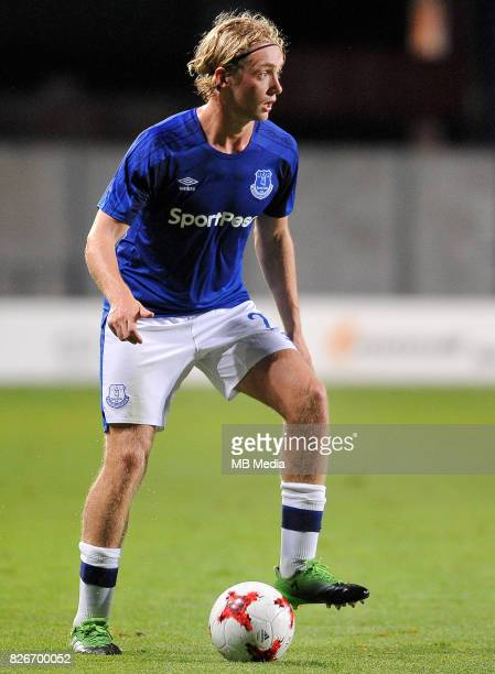 Tom Davies reacts during the UEFA Europa League Qualifier between MFK Ruzomberok and Everton on August 3 2017 in Ruzomberok Slovakia