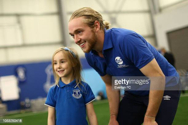 Tom Davies takes part part in the Everton in the Community event at USM Finch Farm on October 24 2018 in Halewood England