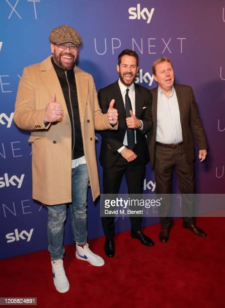 Tom Davis Jamie Redknapp and Harry Redknapp attend the Sky TV Up Next Event at Tate Modern on February 12 2020 in London England Up Next is Sky's...