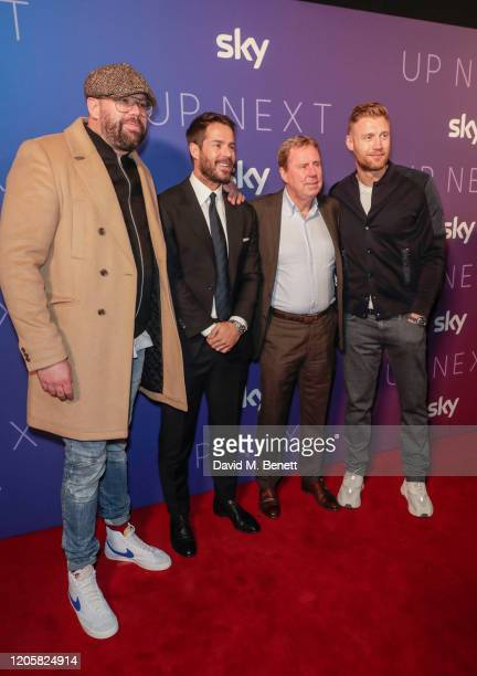 Tom Davis Jamie Redknapp Harry Redknapp and Freddie Flintoff attend the Sky TV Up Next Event at Tate Modern on February 12 2020 in London England Up...