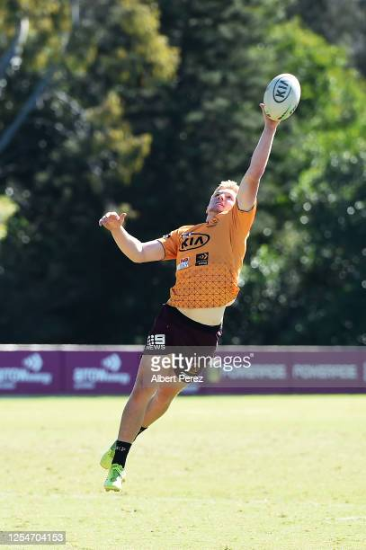 Tom Dearden in action during a Brisbane Broncos NRL training session at the Clive Berghofer Centre on July 07 2020 in Brisbane Australia