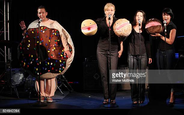 Tom Deckman with Jane Blass Stephanie Fittro and Jennifer Wren Arnie The Doughnut performing at the New York Musical Theatre Festival at the NYMF Hub...