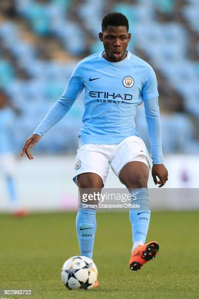 Tom DeleBashiru of Man City in action during the UEFA Youth League Round of 16 match between Manchester City and Inter Milan at Manchester City...