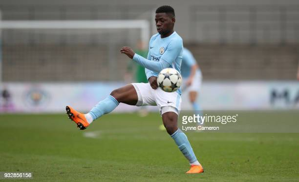 Tom DeleBashiru of Manchester City controls the ball during the UEFA Youth League QuarterFinal at Manchester City Football Academy on March 14 2018...