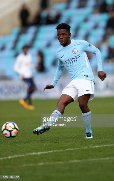 Tom DeleBashiru of Manchester City during the Premier League 2 at The Academy Stadium on November 25 2017 in Manchester England