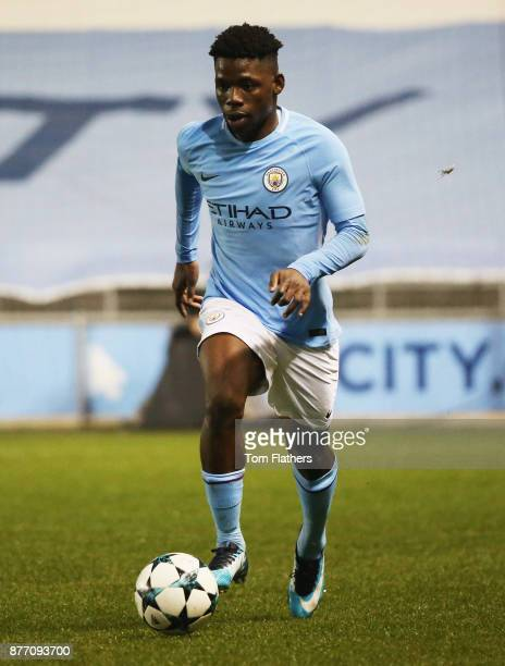 Tom DeleBashiru of Manchester City in action during the UEFA Youth League Group F match between Manchester City and Feyenoord at Manchester City...