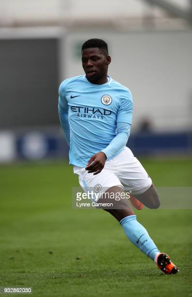 Tom DeleBashiru of Manchester City runs during the UEFA Youth League QuarterFinal at Manchester City Football Academy on March 14 2018 in Manchester...