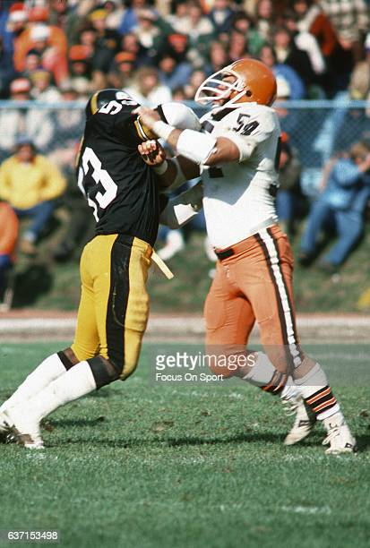 Tom DeLeone of the Cleveland Browns in action blocking Dirt Wintson of the Pittsburgh Steelers during an NFL football game October 15 1978 at...