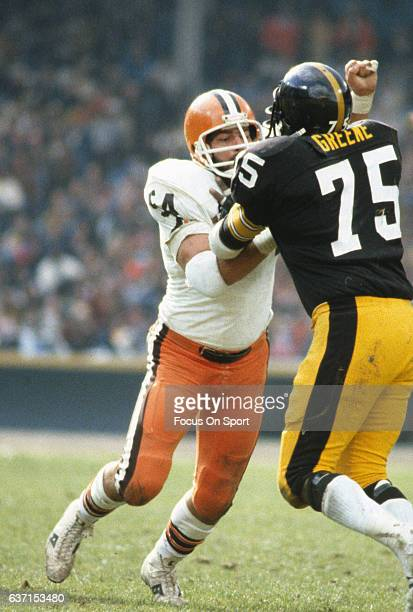 Tom DeLeone of the Cleveland Browns in action blocking Joe Greene of the Pittsburgh Steelers during an NFL football game October 15 1978 at Cleveland...