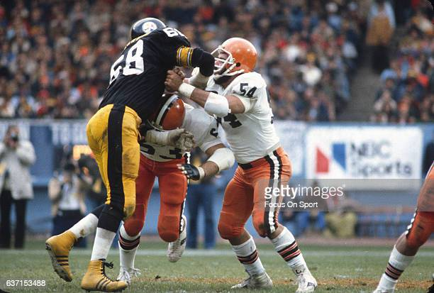 Tom DeLeone of the Cleveland Browns in action blocking LC Greenwood of the Pittsburgh Steelers during an NFL football game October 15 1978 at...