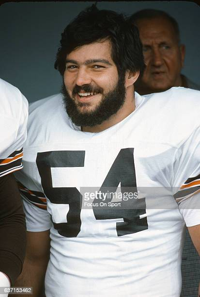 Tom DeLeone of the Cleveland Browns looks on prior to the start of an NFL football game against the Pittsburgh Steelers October 15 1978 at Cleveland...