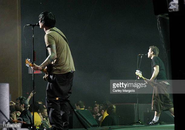 Tom Delonge and Mark Hoppus of Blink 182 during KRock ClausFest 2003 Day One at Hammerstein Ballroom in New York City New York United States