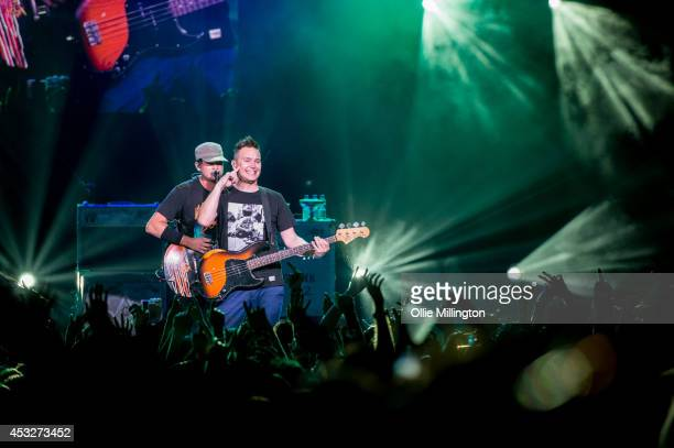 Tom DeLonge and Mark Hoppus of Blink 182 perform on stage during their Reading Leeds Festival warmup show at Brixton Academy on August 6 2014 in...