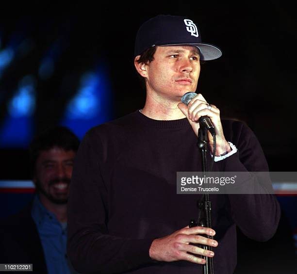 Tom DeLonge during Dave Grohl and Krist Novoselic Make Rare Appearance to Support John Kerry at a Early Vote Rally in Las Vegas Kicking Off Two Week...