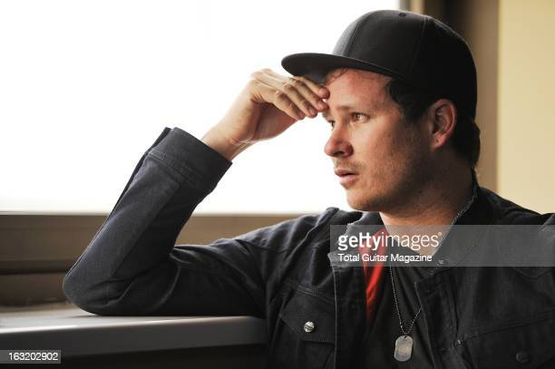 Tom DeLonge guitarist and vocalist of American pop punk band Blink182 photographed during an interview for Total Guitar Magazine July 10 2012