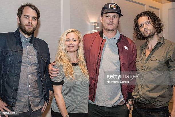 Tom DeLonge Kari DeLonge Dustin Hinz and Haven Lamoureux attends the Screening Of Ernie Ball's 'The Pursuit Of Tone' and QA at The London Hotel on...